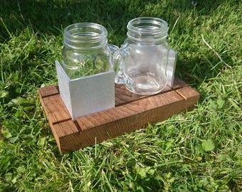 Funky Mason Jar Espresso Set (2-cup)  |  Oak, Aluminium and glass  |  Modern  |  Contemporary  |  Coffee