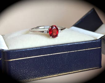"Natural Red Spinel & Diamond Ring W Gold Size O (US 7) ""CERTIFIED SI"" - Exquisite Colour!"