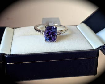 "2.13ct! Tanzanite & SI Graded Diamond Ring 14ct White Gold Size O (US 7)  ""Certified AA"" Large Gemstone!"