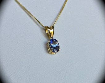 Tanzanite pendant etsy tanzanite pendant and chain 9ct yellow gold certified pretty mozeypictures Choice Image