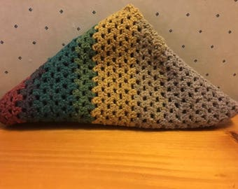 Multicolor Crochet Triangle Scarf