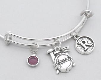 Drum kit charm bracelet with vintage style initial | personalised drums jewelry | drums bangle | drums gift | birthstone