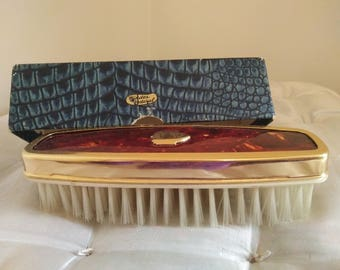 Antique Hindes Federal Faux Tortoise Shell Clothes Brush in original box - Midcentury