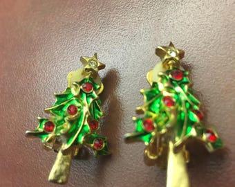 Vintage Christmas Tree Clip Earrings