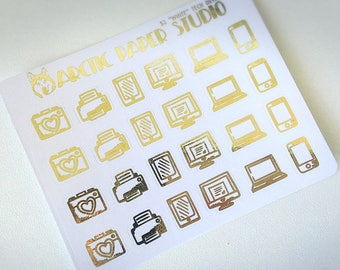 Tech Devices - FOILED Sampler Event Icons Planner Stickers