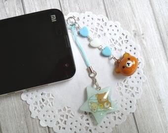 Rilakkuma Kiiroitori Korilakkuma dust plug resin phone charm bell