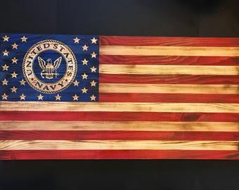 Wooden American Flag w/ U.S. Navy Emblem Customizable Flag, Wood Burned flag, Rustic Flag Sign Flag Gift, Distressed Flag Wall Decor, Crafts