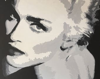 Madonna Hand painted portrait, acrylic on stretched canvas.