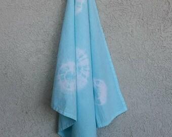Shibori Tie-Dyed Cotton Flour Sack Towel Sea Glass Blue