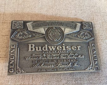 Budweiser Belt Buckle, Beer, Pewter, Anheuser Busch, 1976 Vinegarroon, King of Beers, For Him, Gift