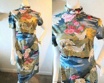 Vintage floral cheongsam dress with mandarin collar // Size M