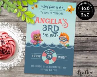 Bubble Guppies Invitation, Bubble Guppies Birthday, Bubble Guppies Party, Bubble Guppies Invites, Bubble Guppies Printables, Printable cards