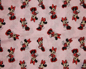 Minnie Mouse Cotton Fabric  SHIPS FAST Disney fabric Pink/Red fabric for quilting, sewing clothing crafts low price  free shipping available