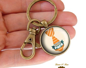 Porte clés ° Super PAPA ° bronze cabochon cadeau fêtes des pères