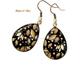 Drop leaf cabochon earrings bronze gold and black glass