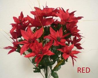 "Christmas Poinsettia Bush 24 Artificial Silk Flower 24"" Bouquet 3030"