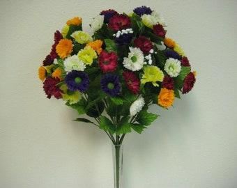 "MULTI Colors PBYW Mini Daisy Bush 72 Artificial Silk Flowers 20"" Bouquet 002PBYW"