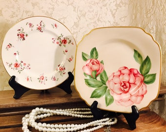 MIX AND MATCH Pair of Vintage Plates - Pink Floral - Gold Trim - Guest Room Display