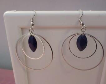 Double hoop metal earring silver