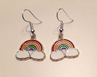 Girls Earrings Rainbow Cloud Silver Plated Drop Earrings. Perfect for anyone who loves rainbows.Gorgeous gift for your or someone special.
