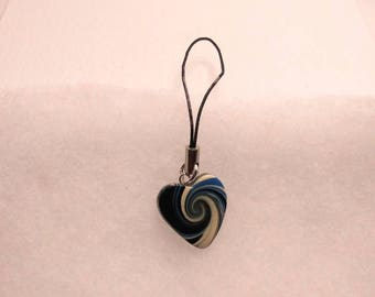 Polymer Clay, black/blue/cream swirl heart cell charm