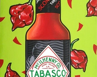 SS Scorcher ( painted on canvas board)/ Contemporary art, Montana artist, Acrylic, Pop, Art collectors, Hot Sauce Lover