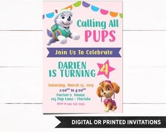 Paw Patrol Invitation, Paw Patrol Birthday Invitation, Paw Patrol Party, Girl Birthday Invitation, Girl Invitations, 40