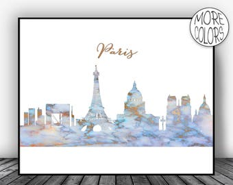 Paris Art Print, Paris Print, Paris Decor, Paris Skyline, Office Decor Paris France Paris Poster, Paris Wall Art Office Poster