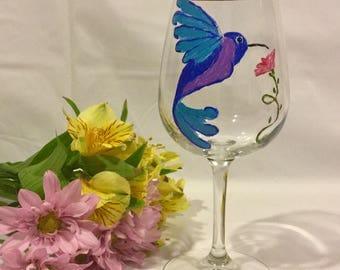 Hummingbird  Wine Glass, Painted Wine Glass, Humming Bird Glass, Home Decor, Gift