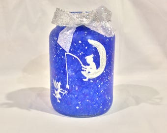 Tooth Fairy Jar, Hand Painted Tooth Fairy Jar Light, Night Light, Home Decor, Kids Rrom, Patio Decor, Gift