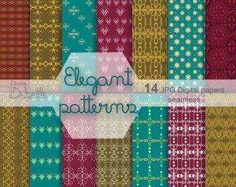 Elegant Patterns digital paper pack seamless patterns