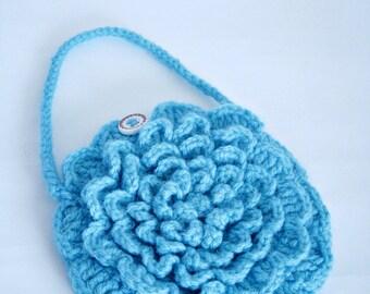 Crochet Flower Purse, Blue Flower Bag, Crochet Handbag, Handmade Purse, Small Blue Purse,Children's Purse,Crochet Flower Handbag,Girls Purse