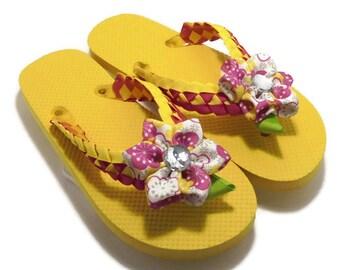 Flip Flops for Women // Ladies Yellow Flip Flops // Pretty Flip Flops // Ribbon Flip Flops // Girls Yellow Flip Flops // Teen Flip Flops