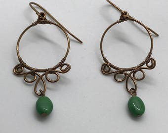 Antique Brass Hoop Earrings
