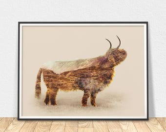 Highland Cow Print - Printable Poster, Scotland Art, Highland Cow Art, Home Wall Decor, Animal Wall Art, Highland Cow Decor, Modern Wall Art