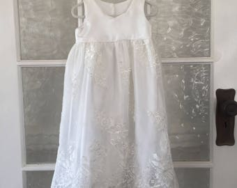 "Christening dress, White organza Dress, Special occasion dress, size 6-12 months, ""READY TO SHIP"""