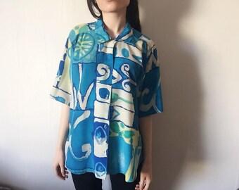 Vintage blue patterned shirt