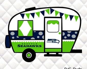 Seattle Seahawks -  Tailgating Camper SVG, Silhouette studio bundle -  design download
