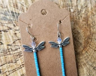 Blue Beaded Dragonfly Earrings