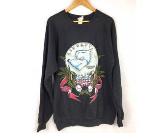 SKUNK Liberty in Bud We Thrust with Full Print Sweatshirt Large Size Sweatshirt Made in USA
