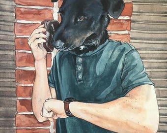 Dog Character Painting-Dog Portraits-Custom Watercolor Pet Portrait-Unique Gift-Funny-Pet Portrait
