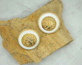 Vintage Gold Toned and White Fabric Pierced Earrings, Valentines Gift, Mother's Day Gift, Pierced Earrings