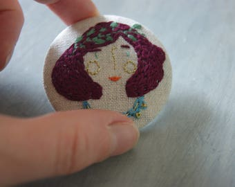 portrait embroidered badge