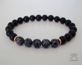Mens bracelet. Snowflake Obsidian and Black Onyx bracelet.