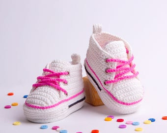White Crochet Baby Booties, Baby Converse