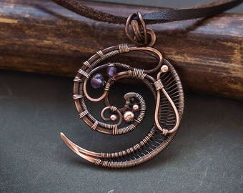 Swirl pendant // Copper spiral wire wrapped pendant // Symbol necklace // Amethyst beads swirl copper wire wrap pendant // Spiral necklace