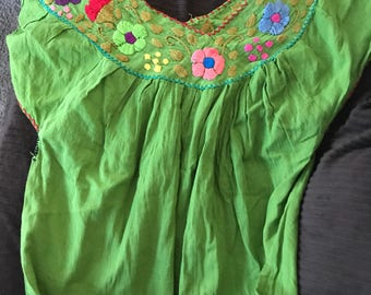 Green broider V Neck mexican blouse