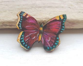 Butterfly pin brooch. Vintage butterfly badge. Butterfly pin. Butterfly moth jewellery. Moth butterfly accessory purple butterfly jewellery