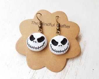 Jack skellington earrings. Jack skellington jewellery. Nightmare before Christmas earrings. Nightmare before Christmas jewellery Halloween