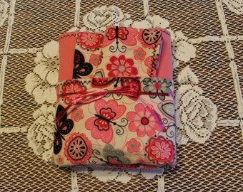 Flannel Baby Blanket, Pink Floral Baby Blanket Gift Set, Flannel Baby Blanket Gift Set